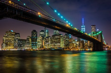 The Brooklyn Bridge and Manhattan Skyline at night seen from Bro