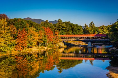 The Saco River Covered Bridge in Conway, New Hampshire.