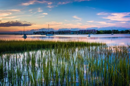 Photo for Sunset over the Folly River, in Folly Beach, South Carolina. - Royalty Free Image