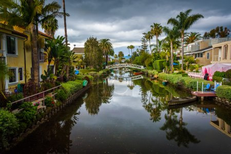 Photo for Houses and bridge along a canal in Venice Beach, Los Angeles, California. - Royalty Free Image