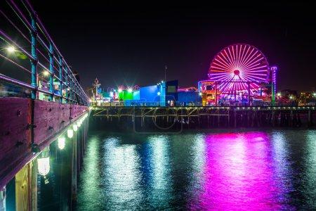 The ferris wheel at night, on the Santa Monica Pier in Santa Mon