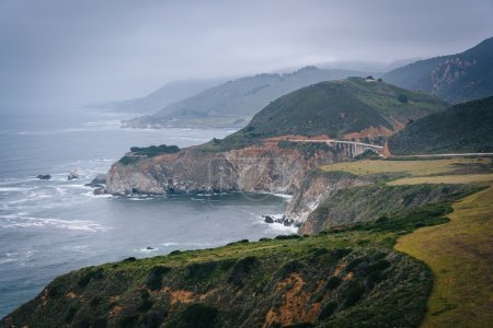 View of the Pacific Coast and  Bixby Creek Bridge, in Big Sur, C