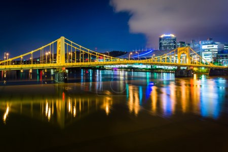 The Andy Warhol Bridge over the Allegheny River at night, in Pit