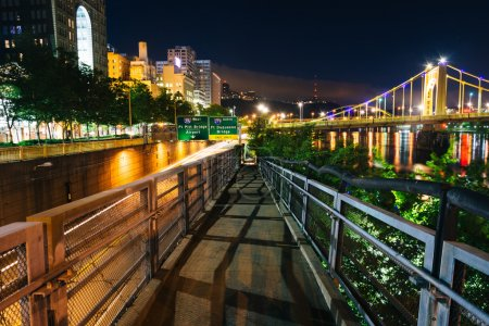 Walkway along the Allegheny River at night, in Pittsburgh, Penns