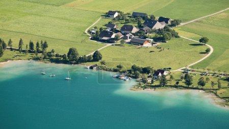 Farms at an Alpine Lake, Austria