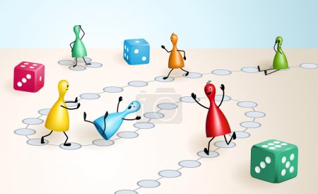 Board game with dices and ludo figures, that behav...