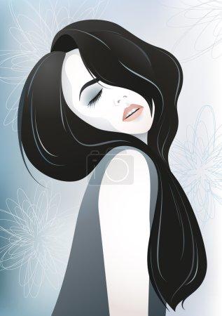 Illustration pour Illustration vectorielle de la belle fille avec les cheveux long noir - image libre de droit