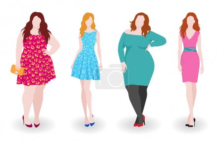 Illustration for Vector illustration of isolated slim and fat fashion women - Royalty Free Image