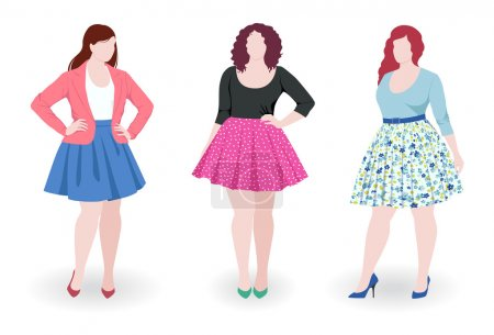 Illustration for Three beautiful plus size fashion women wearing skirt - Royalty Free Image