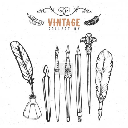 Illustration for Vintage retro old nib pen ink collection. Hand drawn vector illustrations. - Royalty Free Image