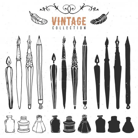Illustration for Vintage retro old nib pen brush ink collection. Hand drawn vector illustrations. - Royalty Free Image