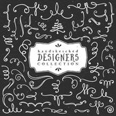 Chalk decorative curls and swirls Designers collection Hand drawn illustration Design elements