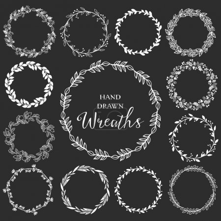 Illustration for Vintage set of hand drawn rustic wreaths. Floral vector graphic on blackboard. Nature design elements. - Royalty Free Image