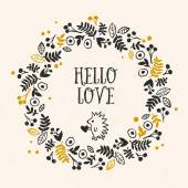 Hello Love greeting card with lettering and flower wreath Vector hand drawn illustration