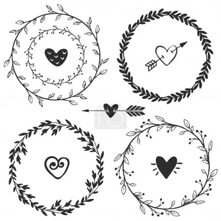 Illustration for Hand drawn rustic vintage wreaths with hearts. Floral vector graphic. Nature design elements. - Royalty Free Image