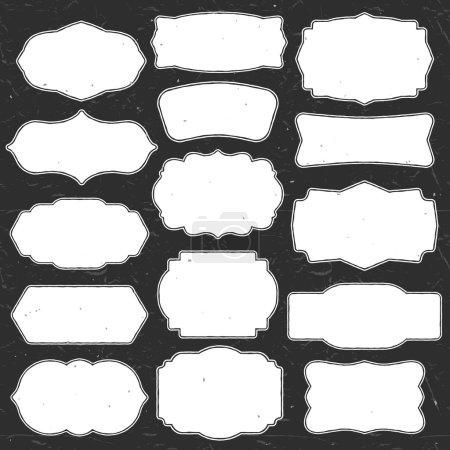 Illustration for Set of vintage chalk frames and labels. Hand drawn vector illustration - Royalty Free Image