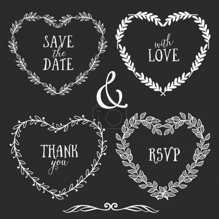Illustration for Hand drawn rustic vintage hearts wreaths with lettering. Floral vector graphic. Nature design elements - Royalty Free Image
