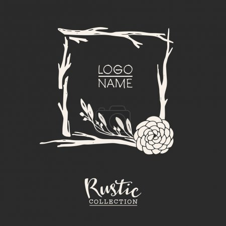 Illustration for Rustic premade typographic logo template with flowers, branches and plants. Hand drawn vintage vector design elements - Royalty Free Image