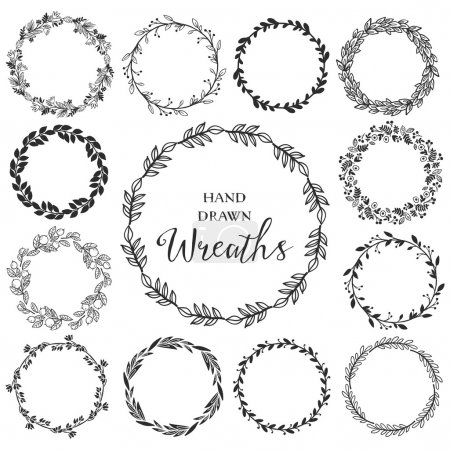 Vintage set of hand drawn rustic wreaths.