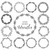 Vintage set of hand drawn rustic wreaths