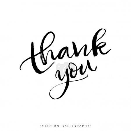 Illustration for Thank you. Modern brush calligraphy. Handwritten ink lettering. Hand drawn design elements. - Royalty Free Image