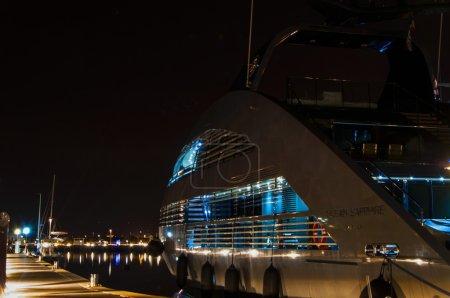 Yacht Ocean Emerald DOUGLAS at night