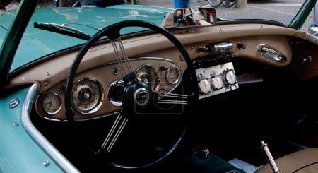 Detail old car steering wheel MERCEDES