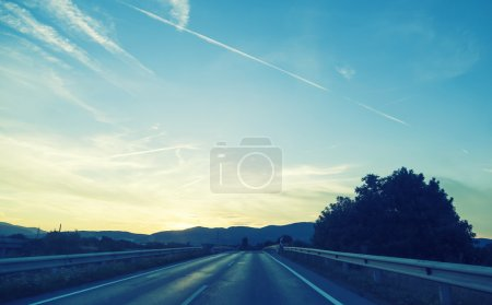 on the road in sunset time