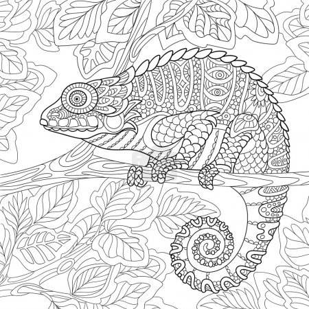 Zentangle stylized chameleon
