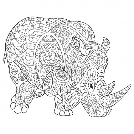 Zentangle stylized rhino