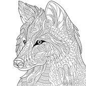 Zentangle stylized wolf