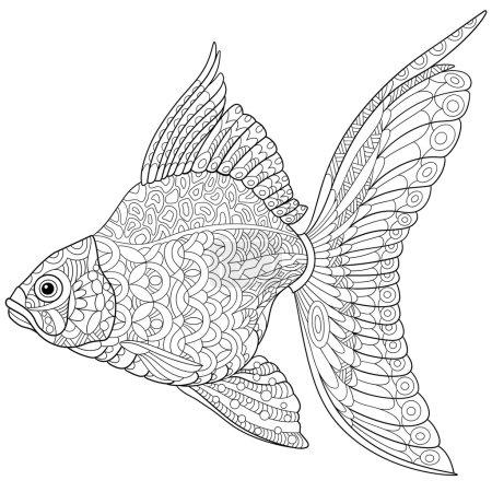 Zentangle stylized cartoon goldfish, isolated on w...