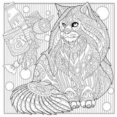 Zentangle stylized maine coon cat
