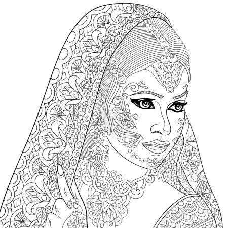 Zentangle stylized indian woman