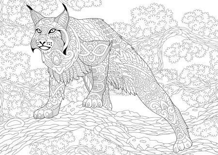 Illustration pour Zentangle stylisé dessin animé chasse chat sauvage (lynx, lynx américain, caracal) prêt à attaquer. Croquis dessiné à la main pour adulte page de livre de coloriage anti-stress avec doodle, zentangle, éléments de conception florale . - image libre de droit