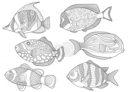 Stylized collection of underwater tropical fishes....