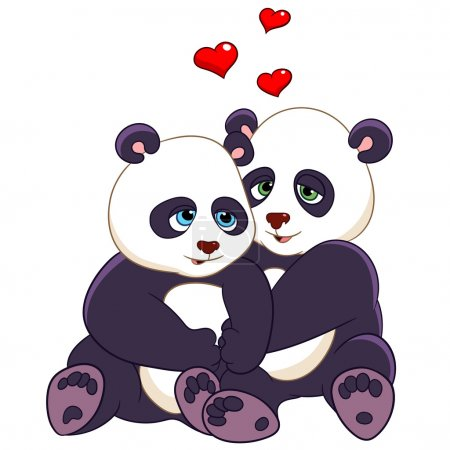 Two pandas are embracing with love...