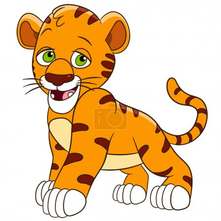 Illustration for Cute and shy tiger cub is smiling - Royalty Free Image
