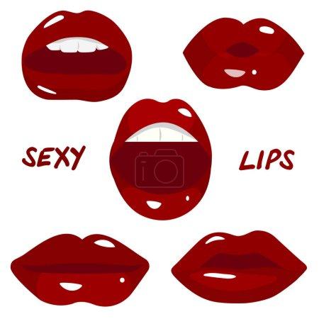 Illustration pour Ensemble vectoriel de lèvres sexy vecteur - image libre de droit