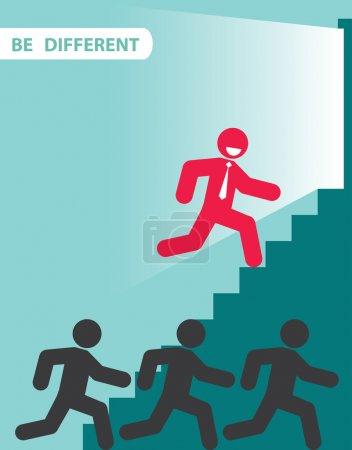 Illustration pour Homme d'affaires rouge exceptionnel de la foule. Illustration vectorielle. Concept différent . - image libre de droit