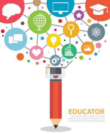 Photo for Open creative pencil with icons of education. Vector illustration. Modern educator concept - Royalty Free Image