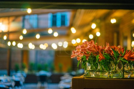 Restaurant background and flowers