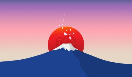 Fuji mountain with falling sakura petals and red sun in background