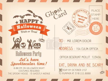 Illustration for Happy Halloween Vintage Postcard invitation background design layout - Royalty Free Image