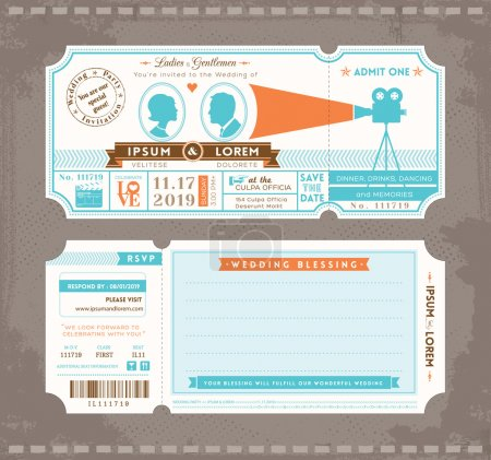 Illustration for Vector Movie Ticket Wedding Invitation Design Template - Royalty Free Image