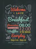 """Постер, картина, фотообои """"Завтрак кафе меню дизайн типографии на доске мелом"""""""
