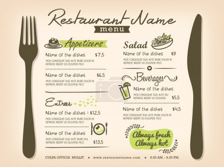 Illustration for Restaurant Placemat Menu Design Template Layout - Royalty Free Image