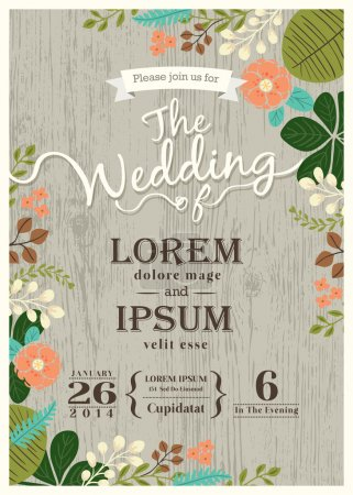Illustration for Vintage wedding invitation card with cute flourish background - Royalty Free Image