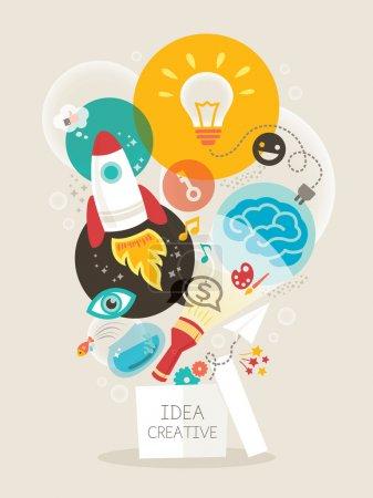 Illustration pour Idée créative penser hors de la boîte vectorielle Illustration - image libre de droit