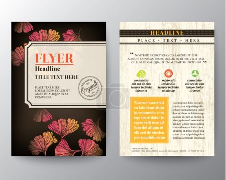 Illustration for Brochure Flyer graphic design Layout vector template in A4 size with Ginkgo leaf background - Royalty Free Image